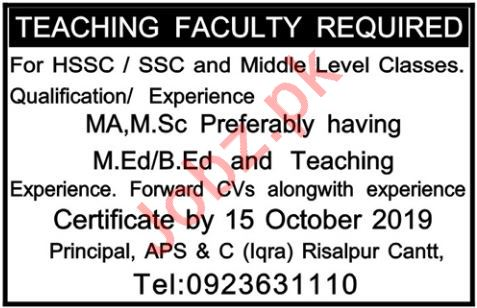 Army Public School & College Iqra Risalpur Cantt Jobs 2019