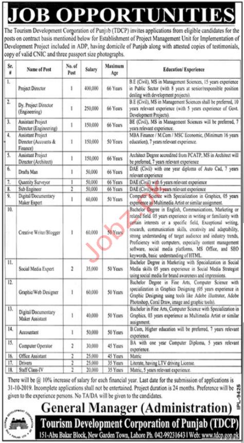 Tourism Development Corporation Punjab Lahore Jobs