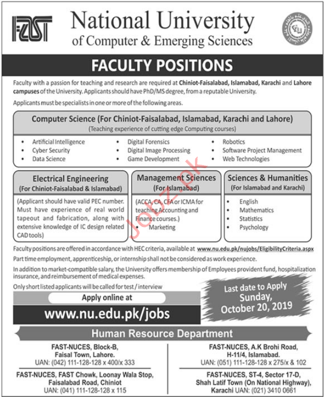 NUCES Faculty Jobs 2019
