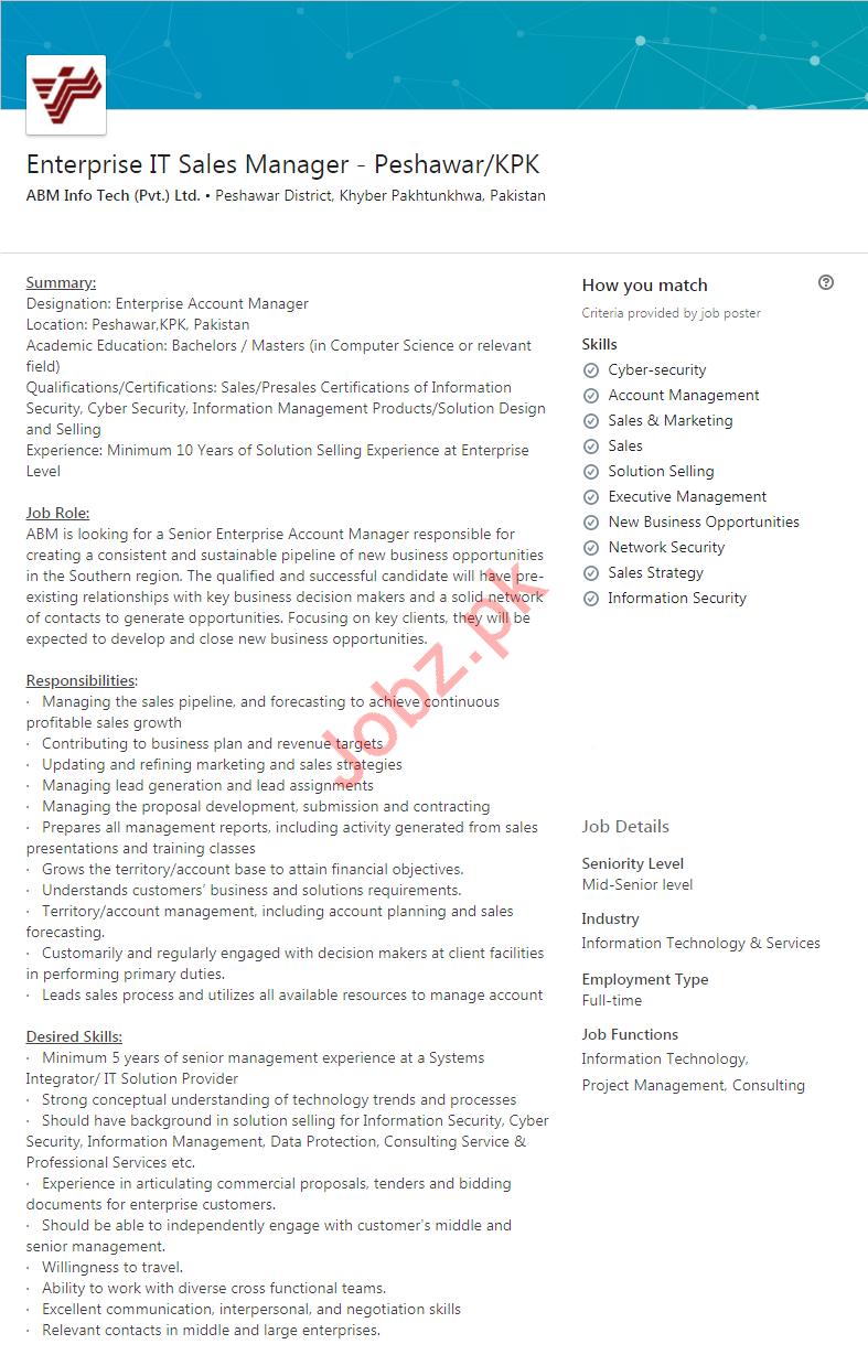 Enterprise IT Sales Manager Job in Peshawar KPK
