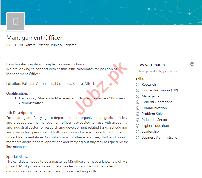 PAC Kamra Job For Management Officer