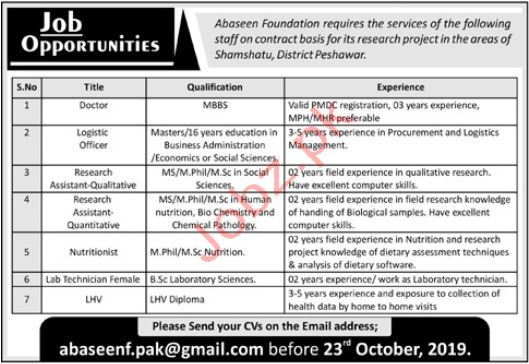 Abaseen Foundation Peshawar Jobs