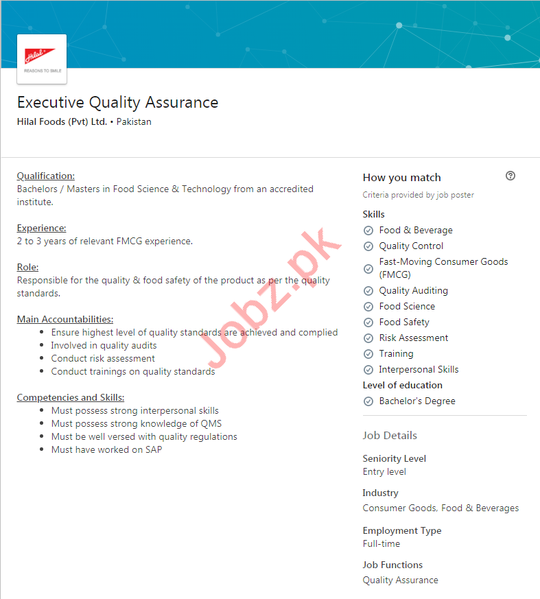 Executive Quality Assurance Jobs in Karachi 2019 Job