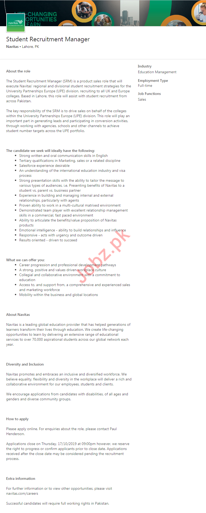 Navitas Company Job For Student Recruitment Manager