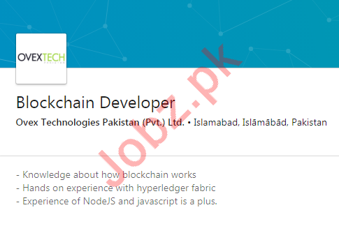 Blockchain Developer Job 2019 in Islamabad