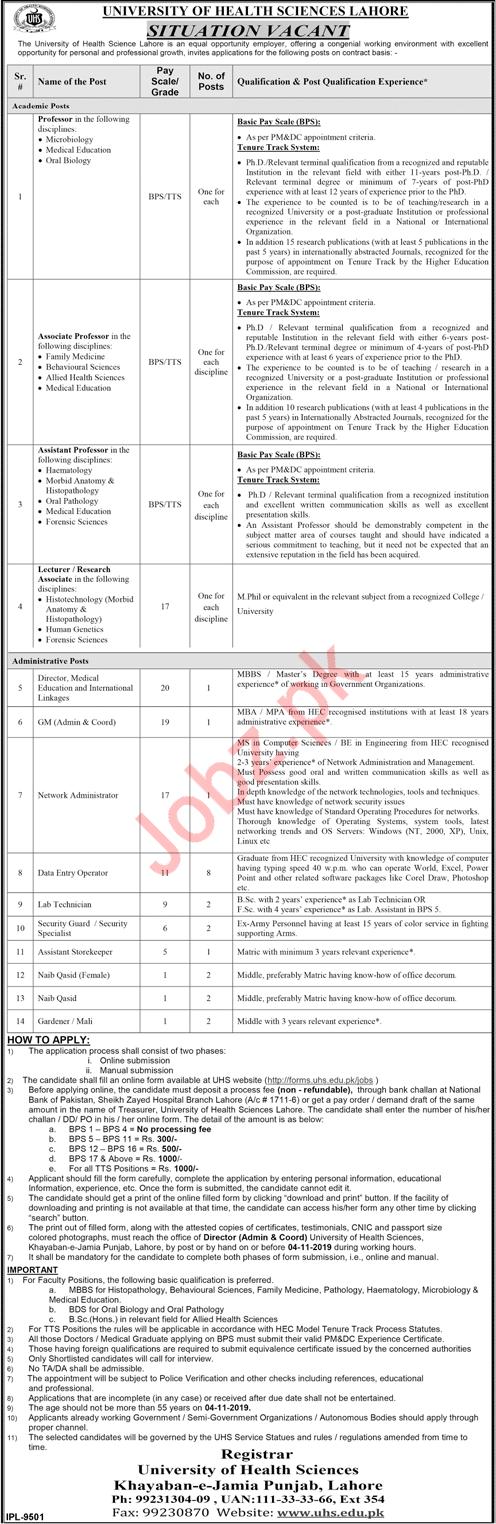 University Of Health Sciences Lahore Jobs 2019