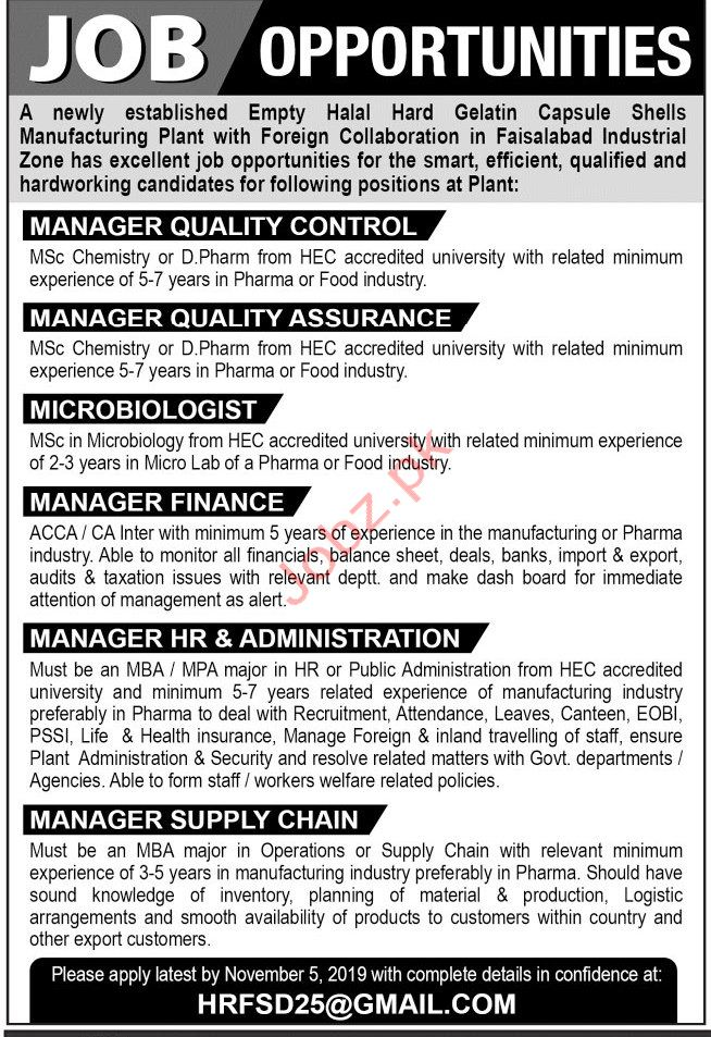 Pharmaceutical Manufacturing Plant Jobs in Faisalabad