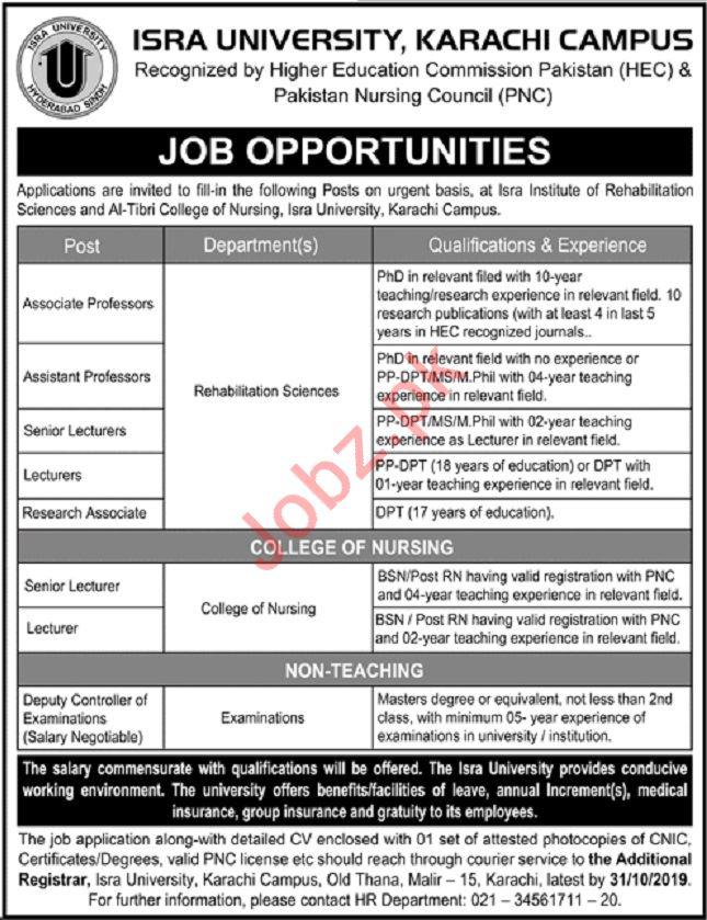 Isra University Karachi Campus Teaching & Non Teaching Jobs