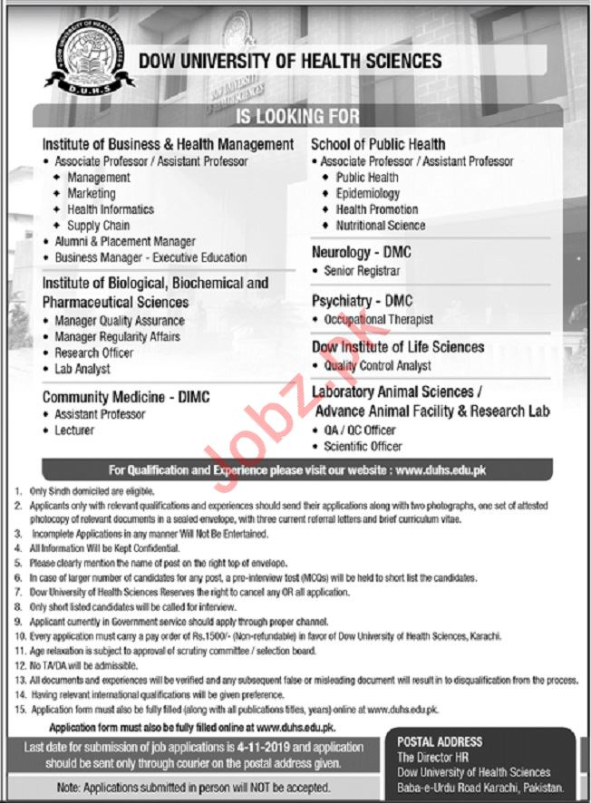 Dow University of Health Sciences DUHS Jobs For Karachi