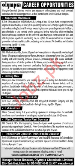 Olympia Chemicals Lahore Jobs for Millwright & Milling Man