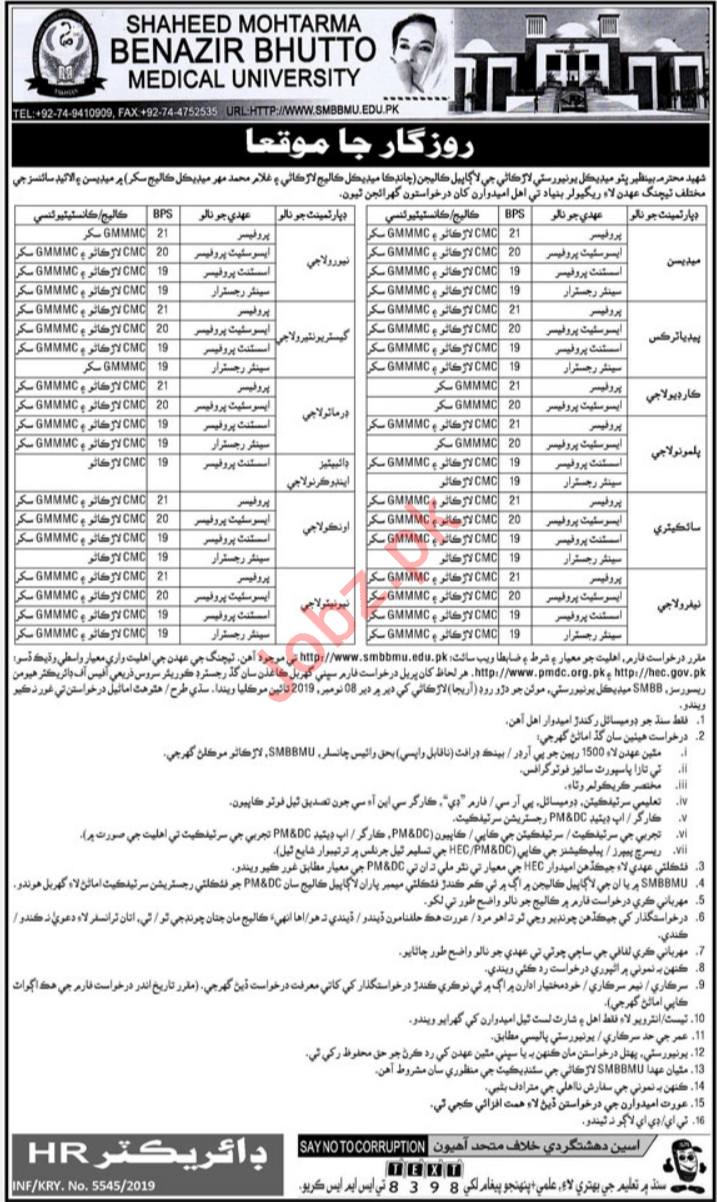 Shaheed Mohtarma Benazir Bhutto Medical University Jobs 2019