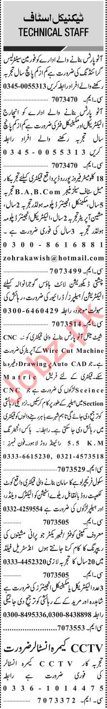 Jang Sunday Classified Ads 20th Oct 2019 for Technical Staff