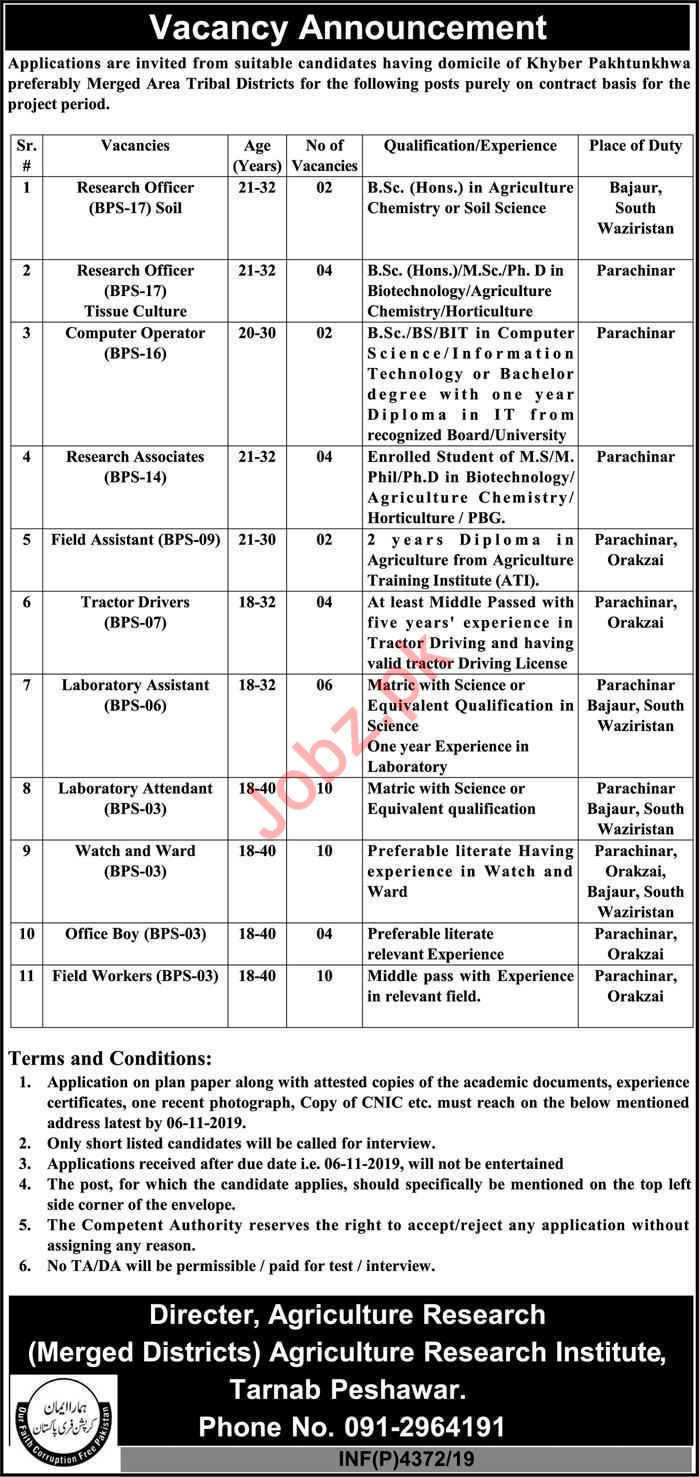 Agriculture Research Institute Jobs 2019 in KPK