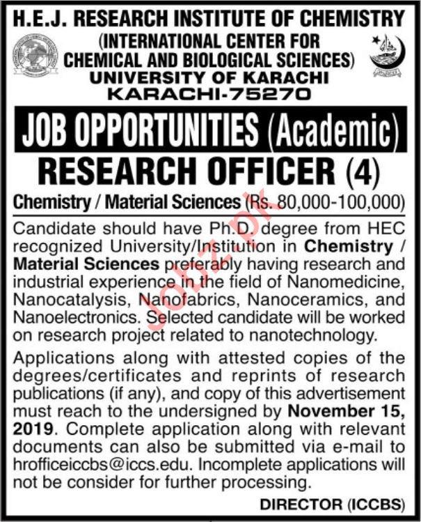 HEJ Research Institute of Chemistry Jobs In Karachi