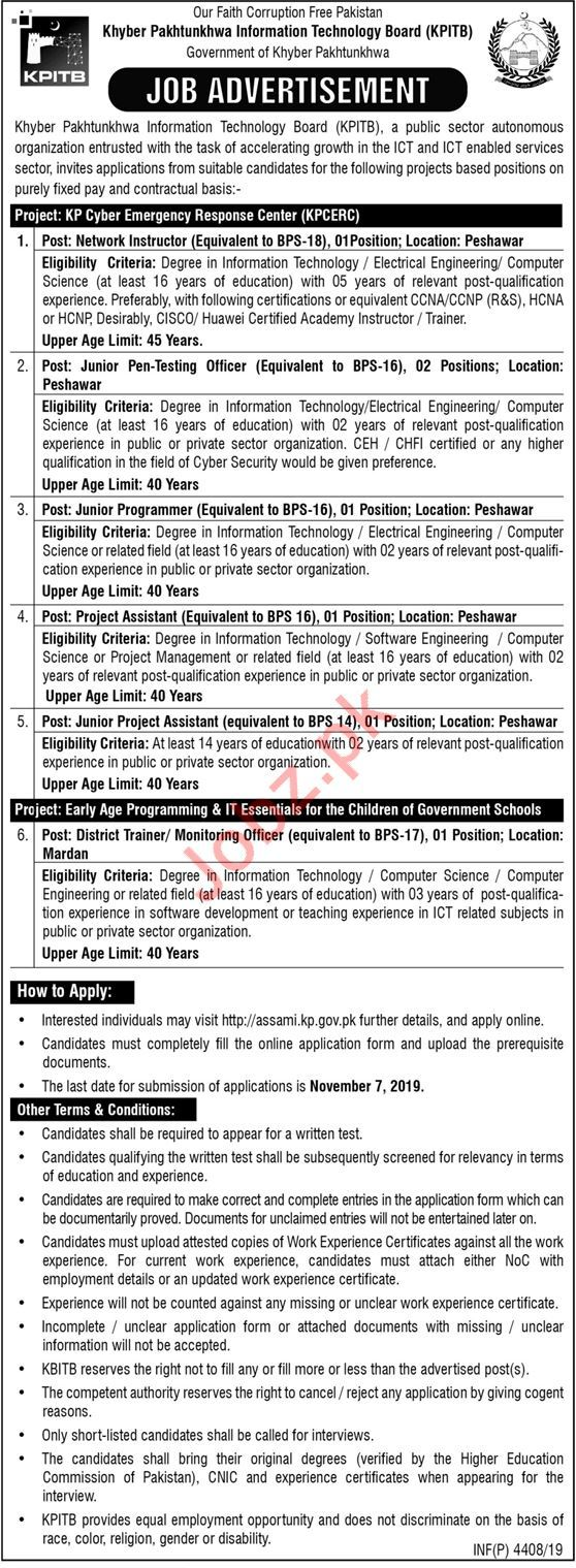 Khyber Pakhtunkhwa Information Technology Board KPITB Jobs