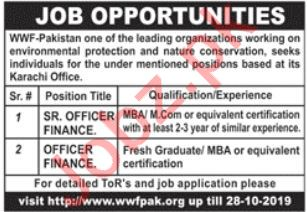 WWF Pakistan NGO Jobs 2019 in Karachi