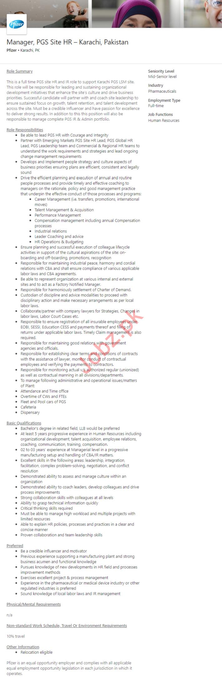 PGS Site HR Manager Job 2019 in Karachi
