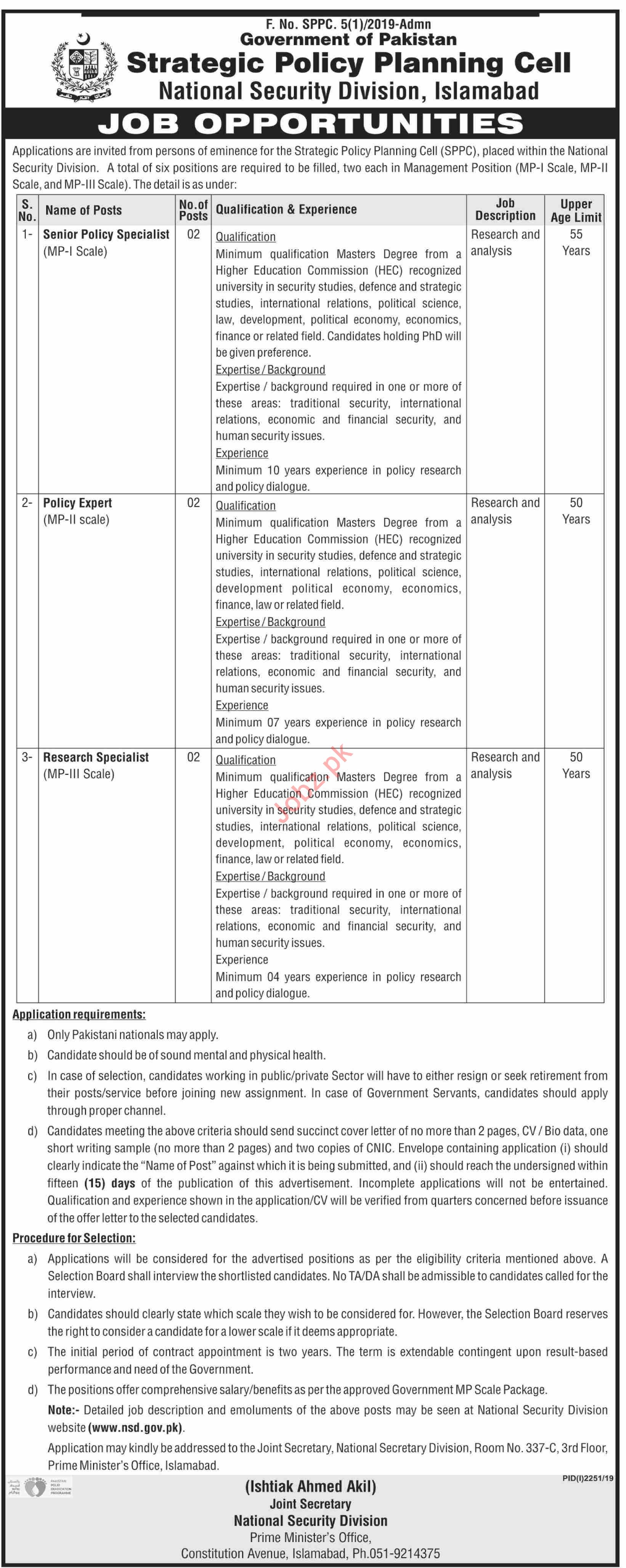 National Security Division NSD Islamabad Jobs Policy Expert