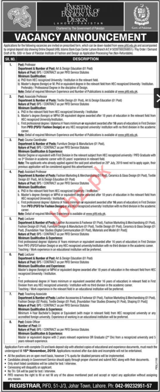 Pakistan Institute Of Fashion Design Pifd Lahore Jobs 201 2020 Job Advertisement Pakistan