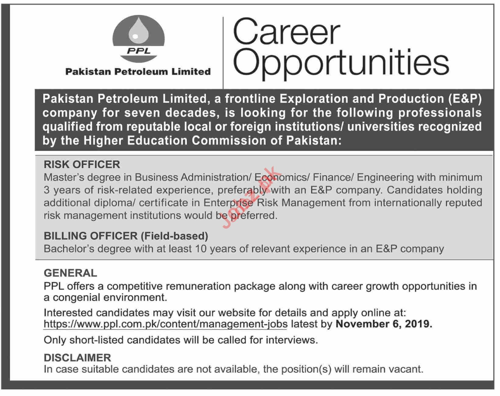 Pakistan Petroleum Limited PPL Jobs For Karachi