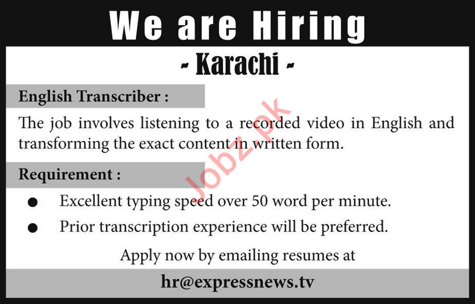 Express News Television Channel Job For English Transcriber