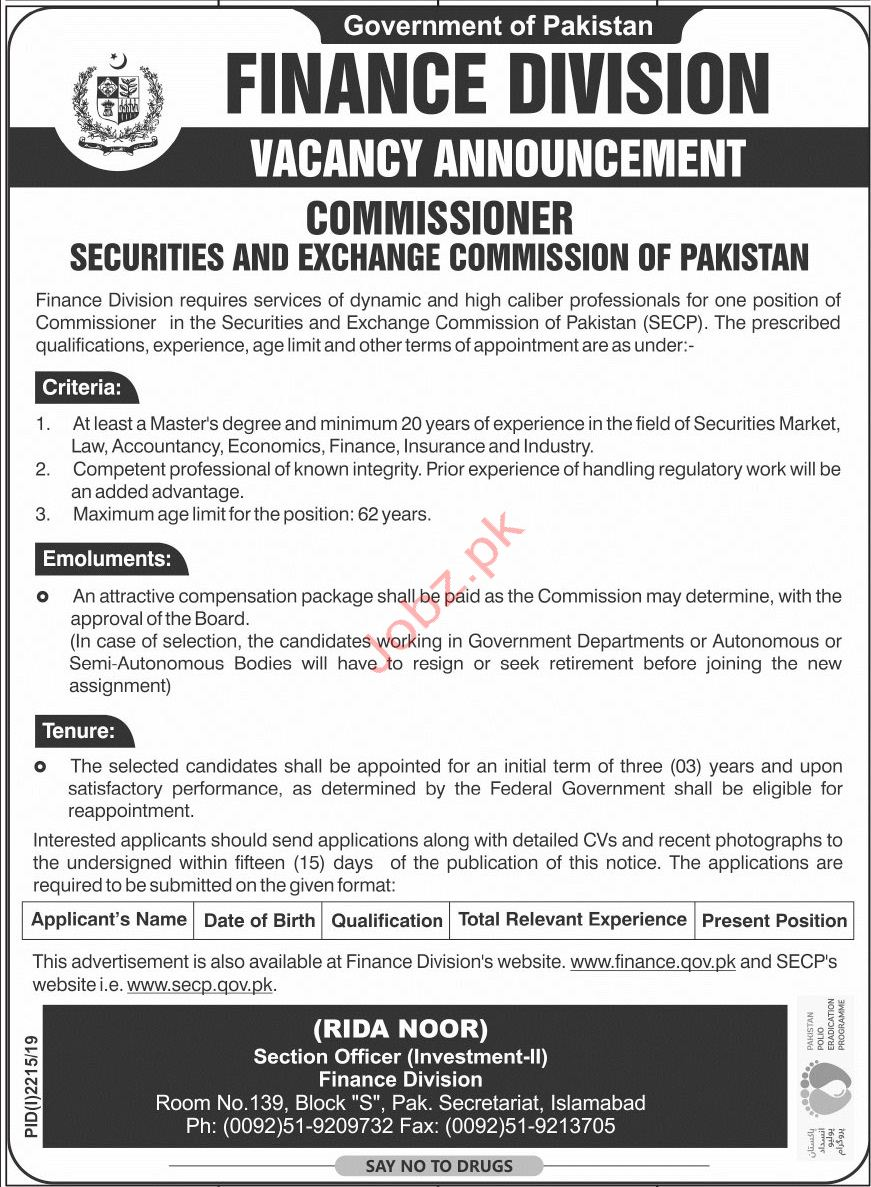 Finance Division Govt of Pakistan Jobs 2019 Job