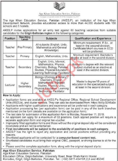 The Aga Khan Education Services Pakistan Jobs 2019