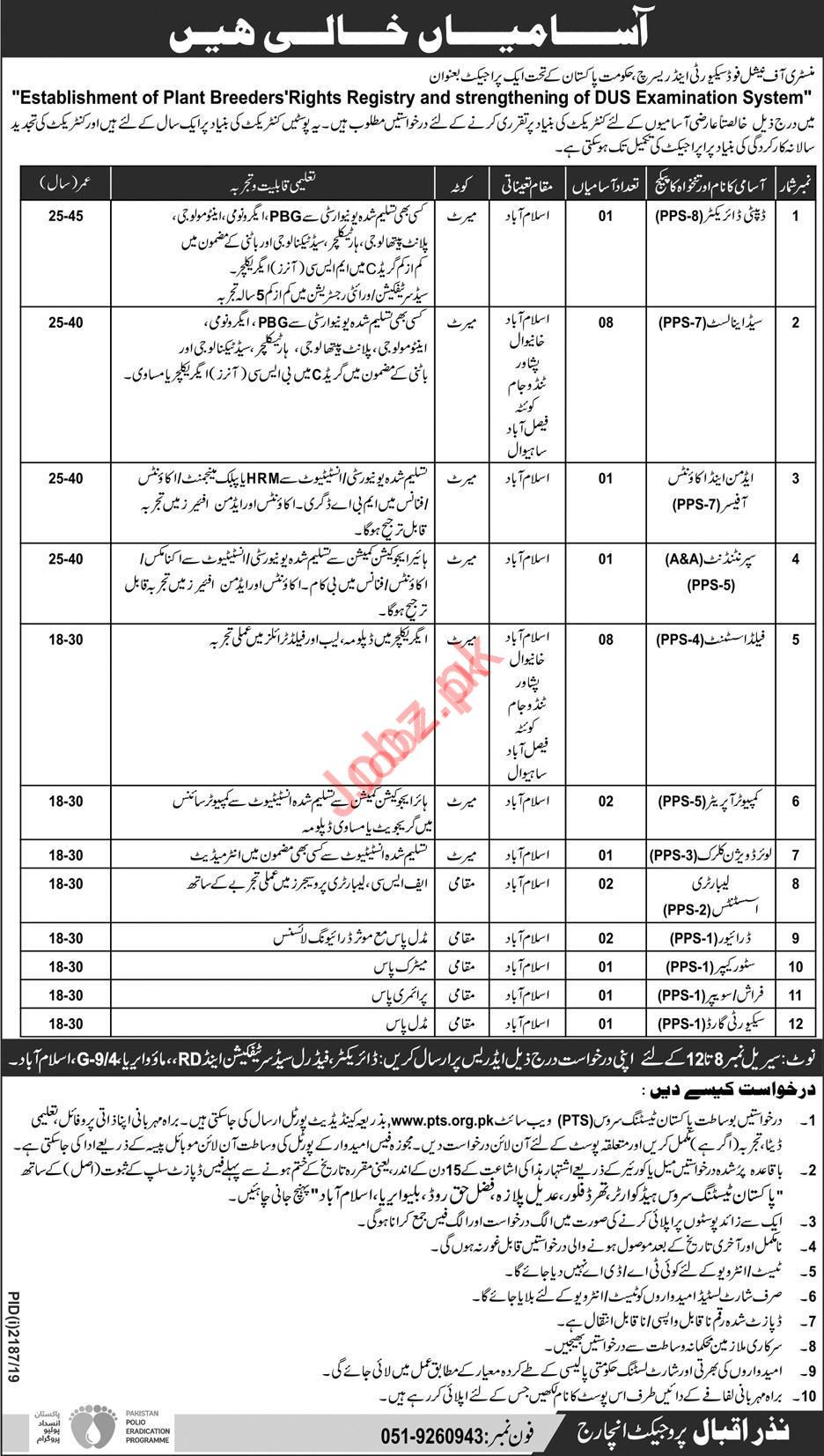 Ministry of National Food Security & Research via PTS Jobs