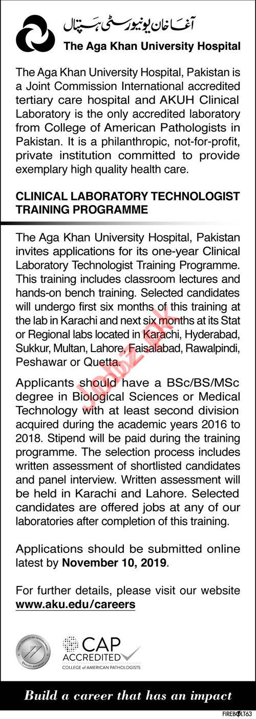 Clinical Lab Technologist Trainee Programme 2019
