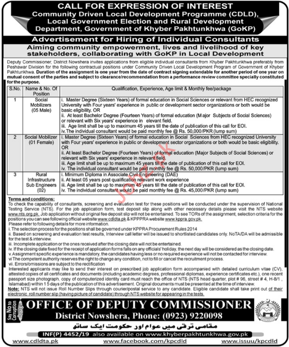 Deputy Commissioner DC Nowshera Jobs for Social Mobilizers
