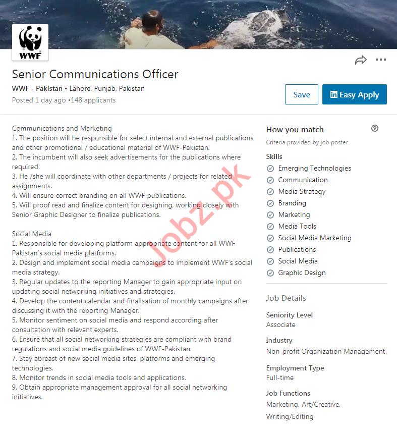 WWF Pakistan NGO Job For Senior Communications Officer