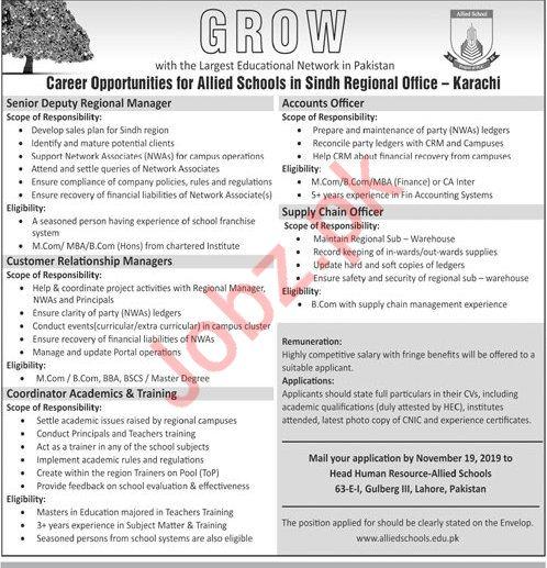 Allied Schools Karachi Jobs 2019