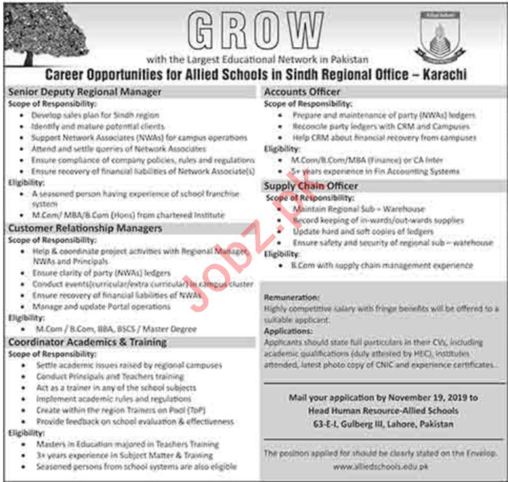 Allied Schools Sindh Regional Office Jobs 2019