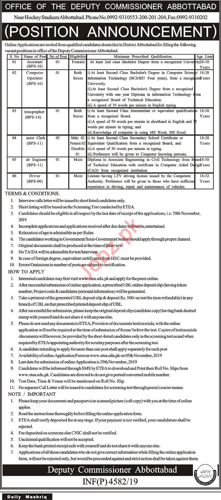 Deputy Commissioner DC Abbottabad Jobs 2019