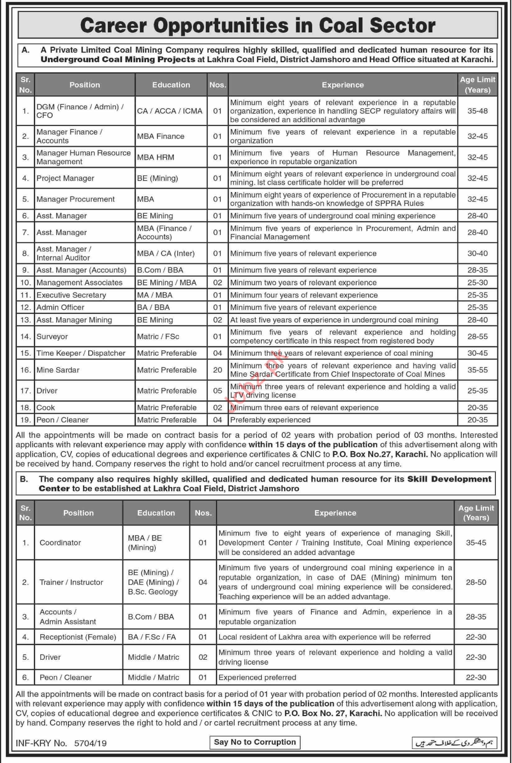 Underground Coal Mining Projects Sindh Jobs 2019