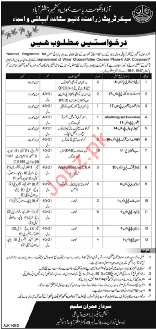 Agriculture Livestock & Irrigation Department Jobs 2019