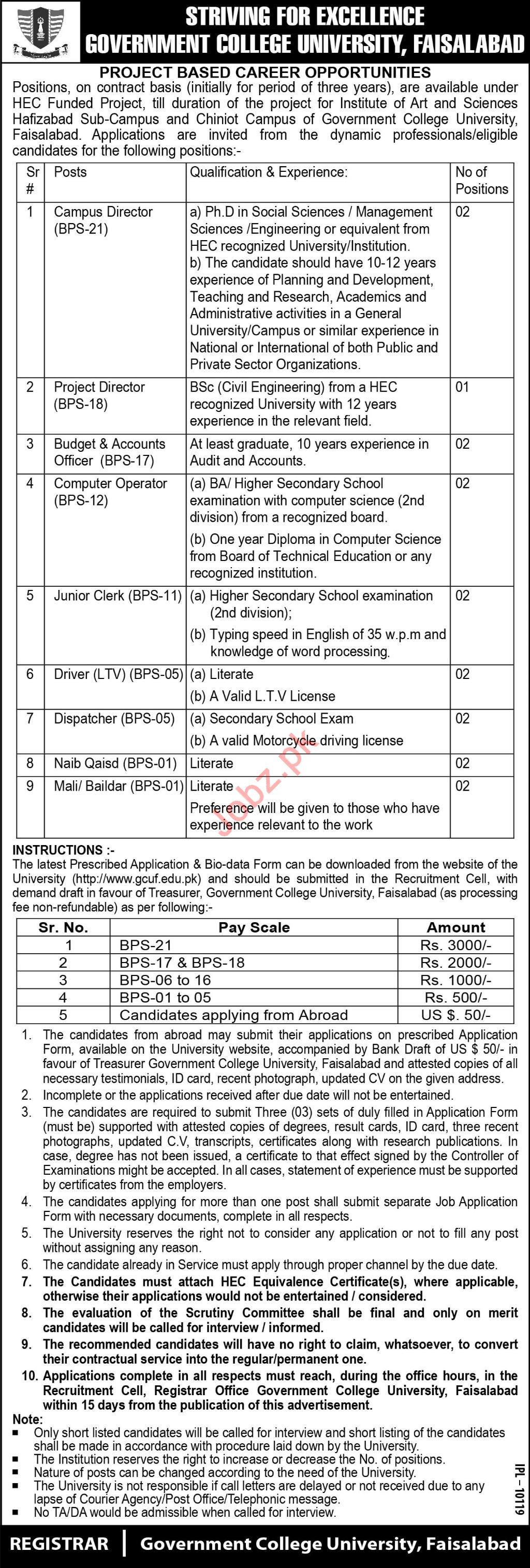 Government College University Faisalabad Jobs 2019