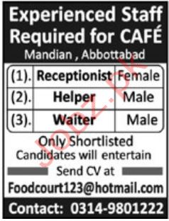 Cafe Jobs in Mandian Abbottabad