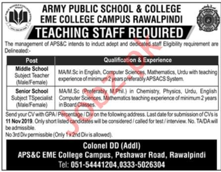 Army Public School & College Jobs For Teachers in Rawalpindi