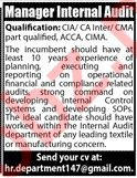 Internal Audit Manager Job in Karachi