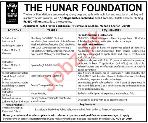 The Hunar Foundation NGO Jobs in Lahore, Multan & Kharian