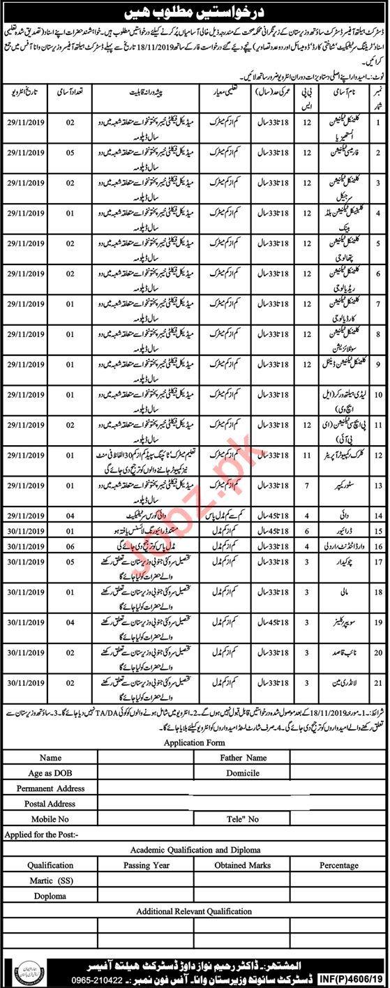 Health Department Jobs 2019 in South Waziristan