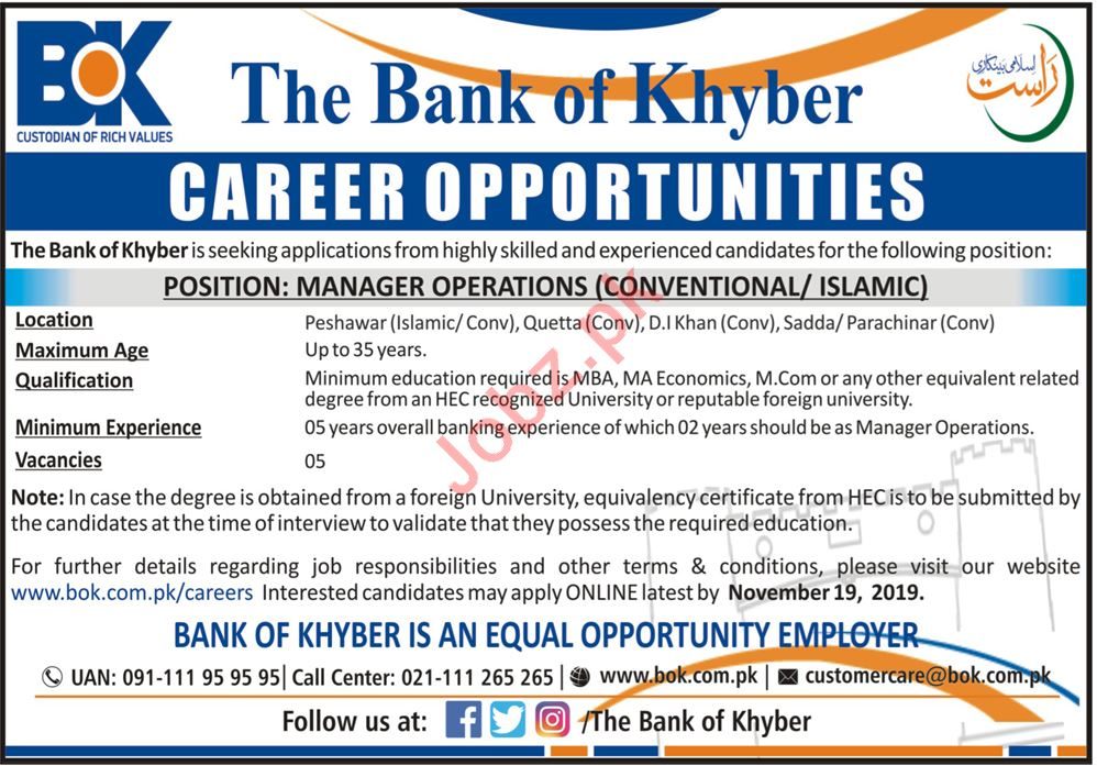 Manager Operations Jobs in The Bank of Khyber BOK