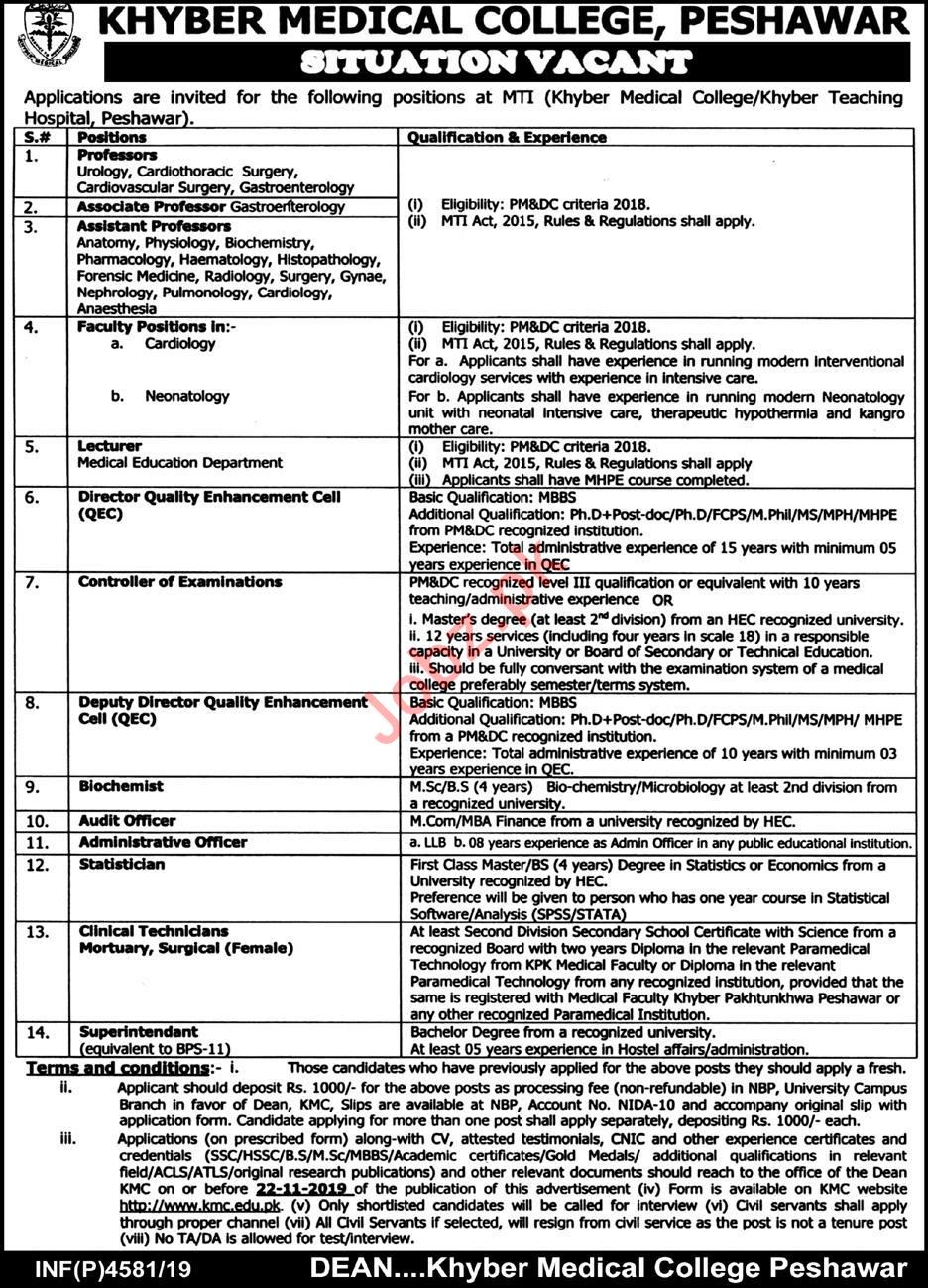 Khyber Medical College Medical Teaching Institution MTI Jobs