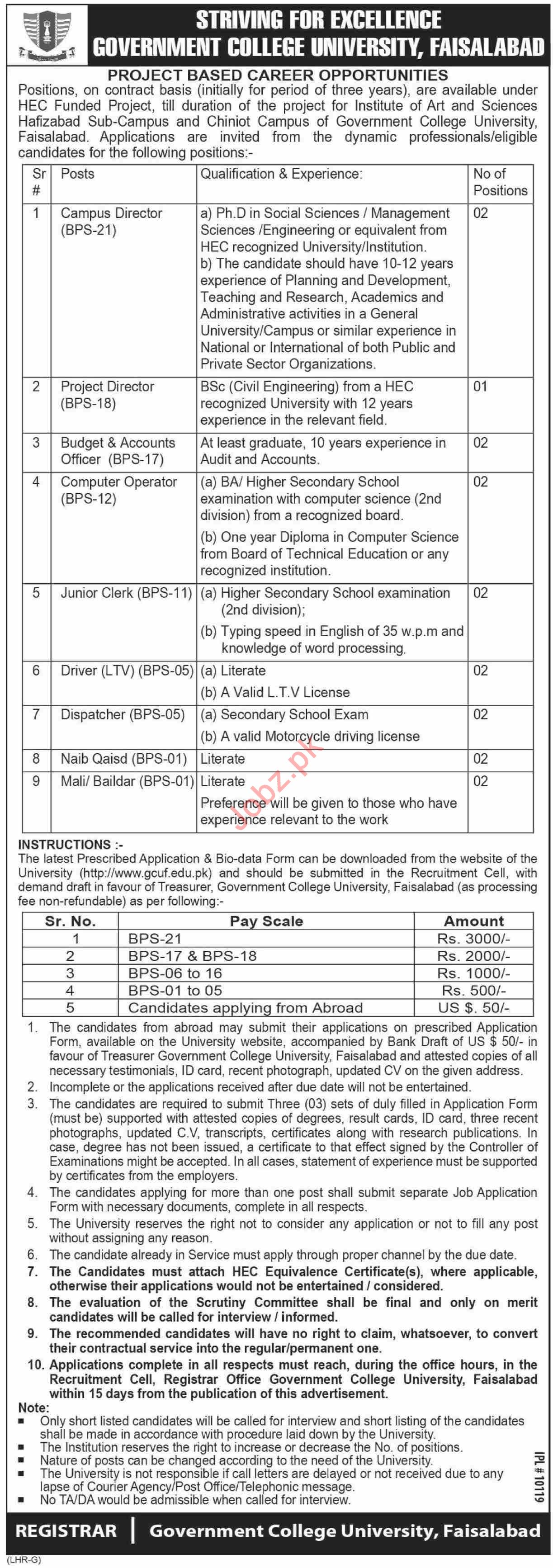 Government College University Faisalabad GCUF Jobs 2019