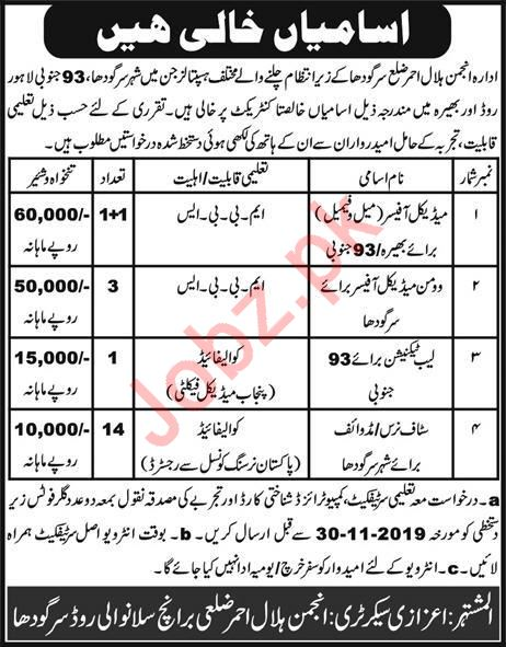 Medical Officer Lab Technician Staff Nurse Jobs in Sargodha
