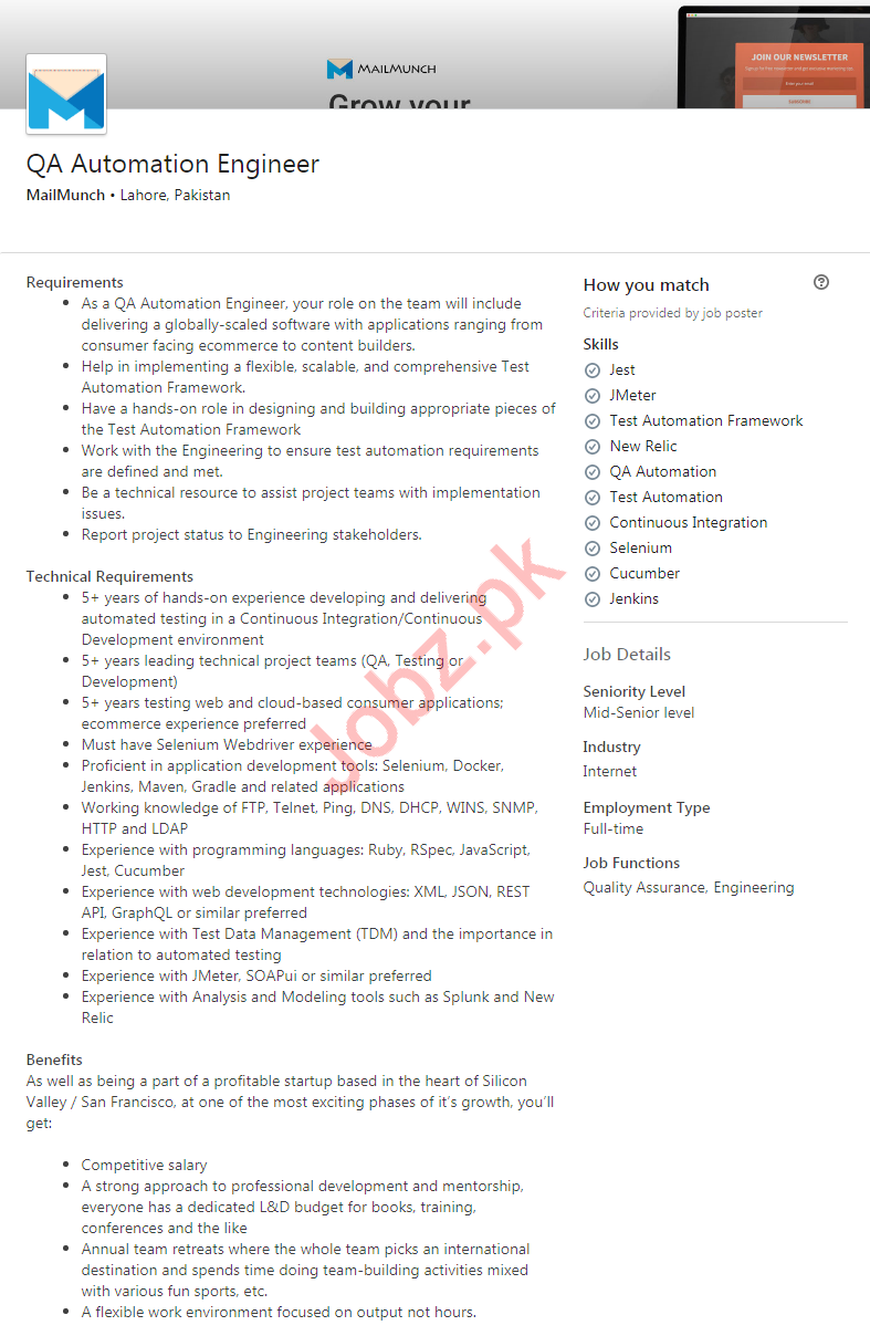 QA Automation Engineer Job in Lahore