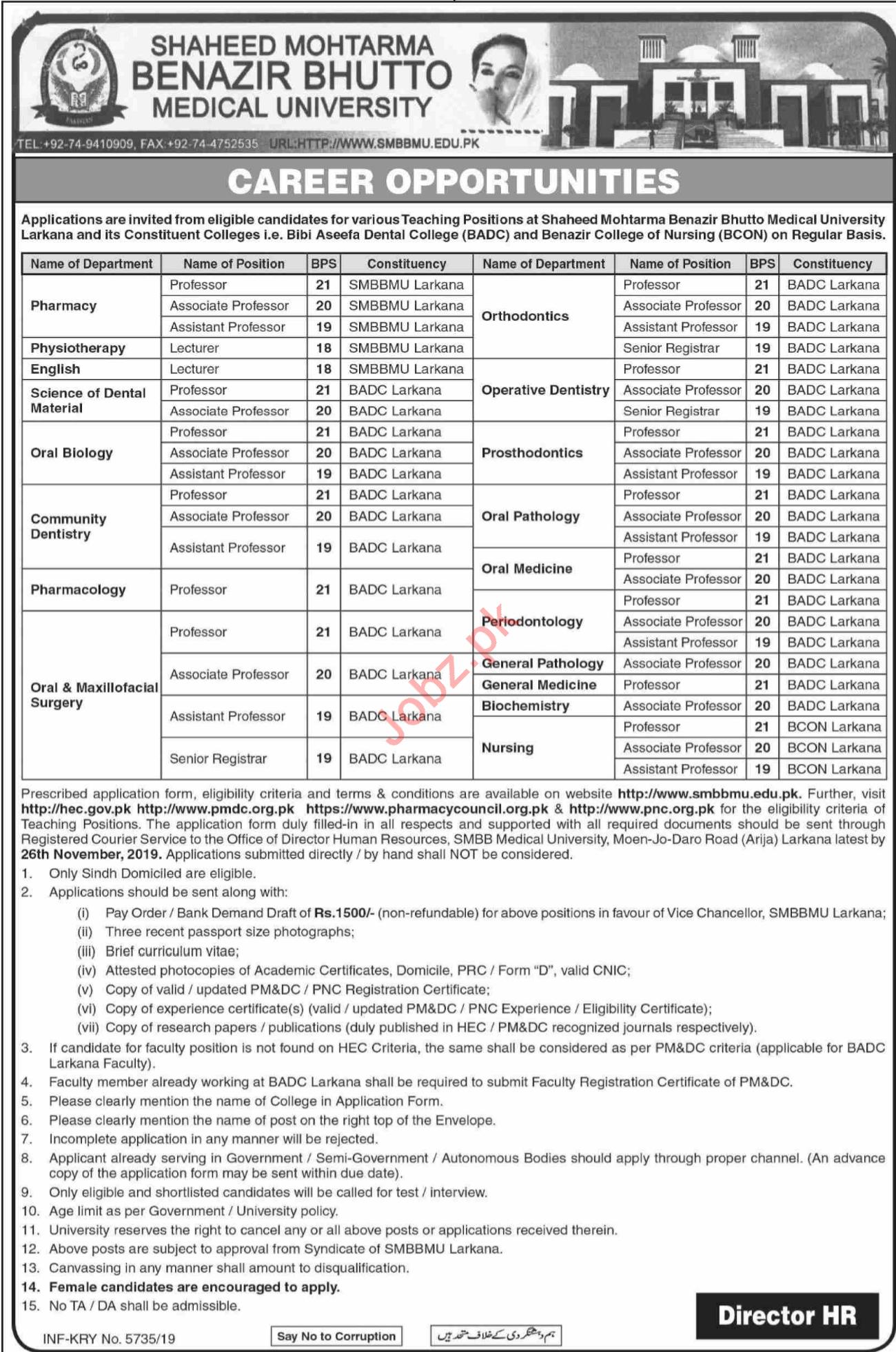 Shaheed Mohtarma Benazir Bhutto Medical University Jobs