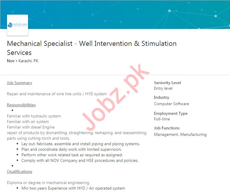 Mechanical Specialist Job in Karachi
