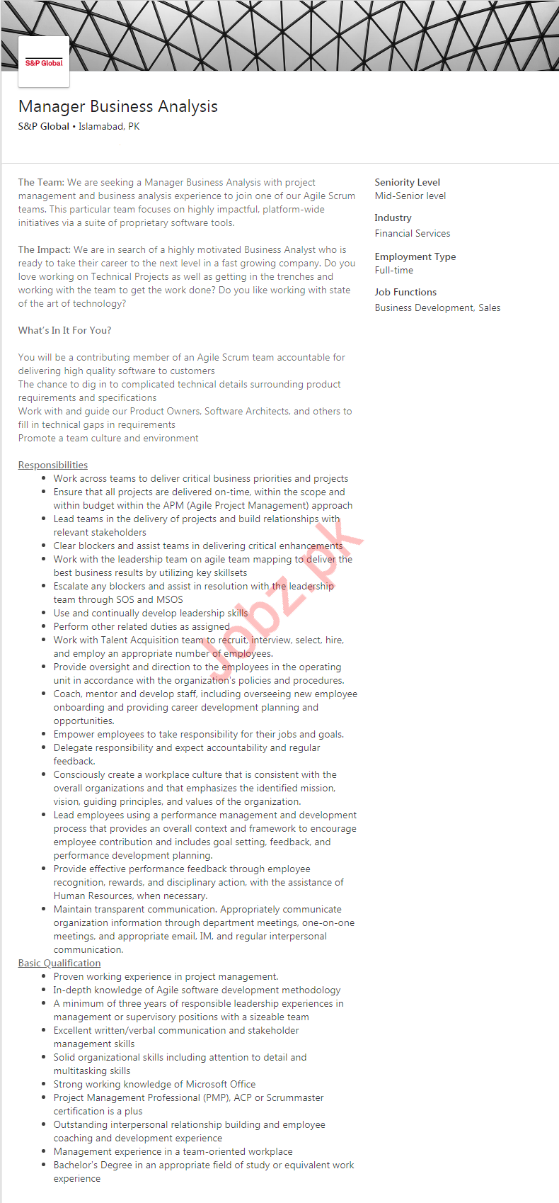 Manager Business Analysis Job in Islamabad